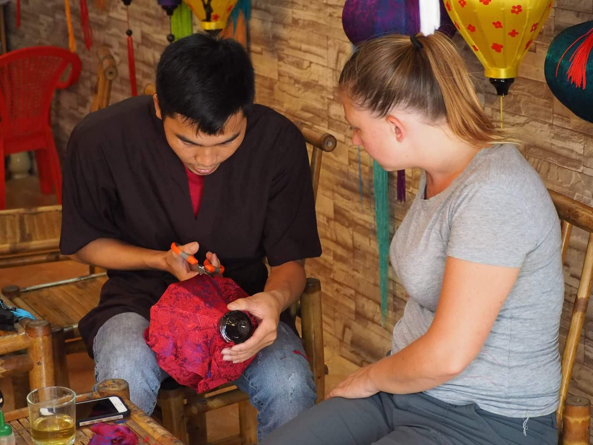 Hoi An Handicraft Tours - lantern making - watching how it's done