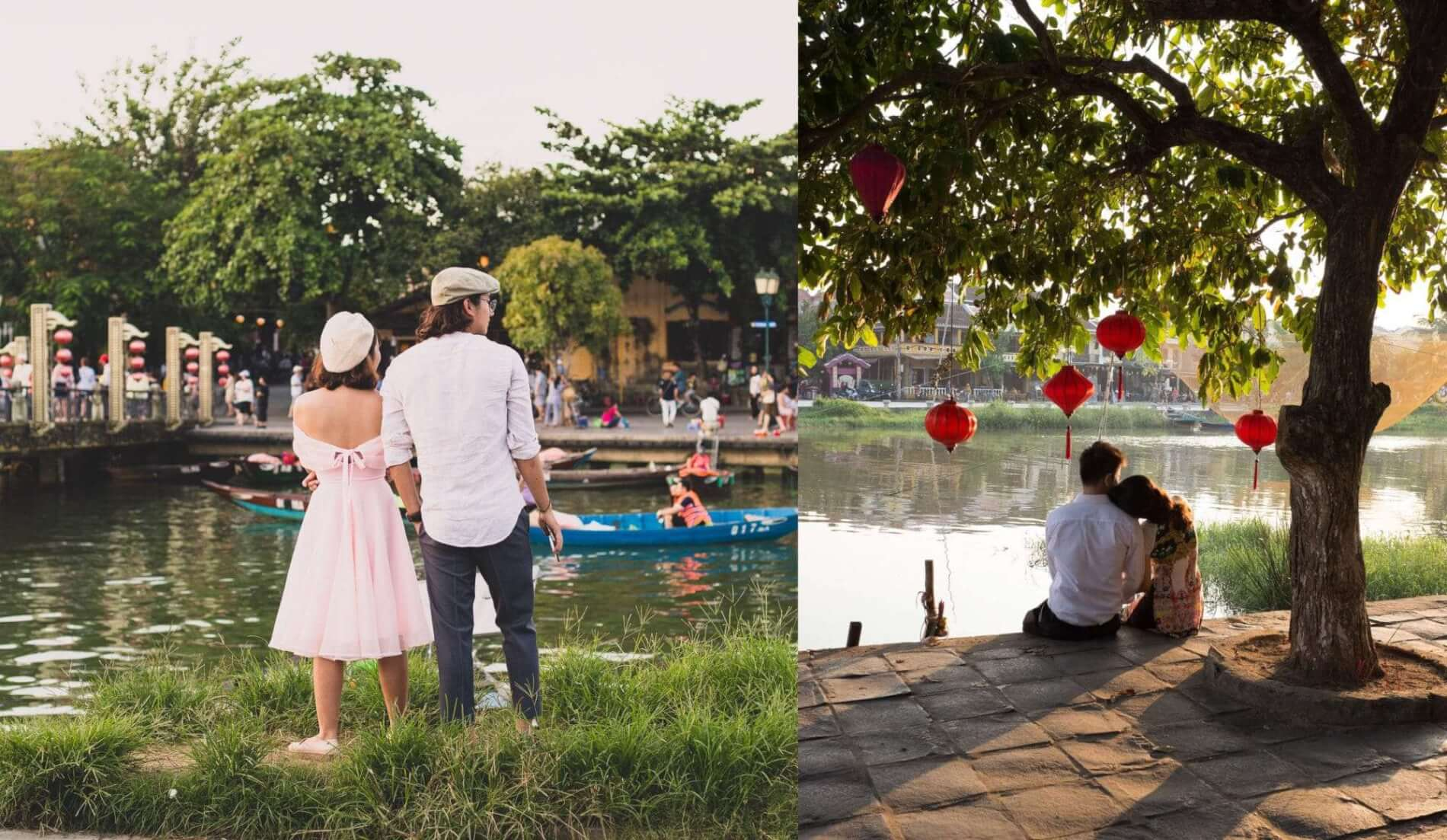 couple enjoy the Hoi An riverside