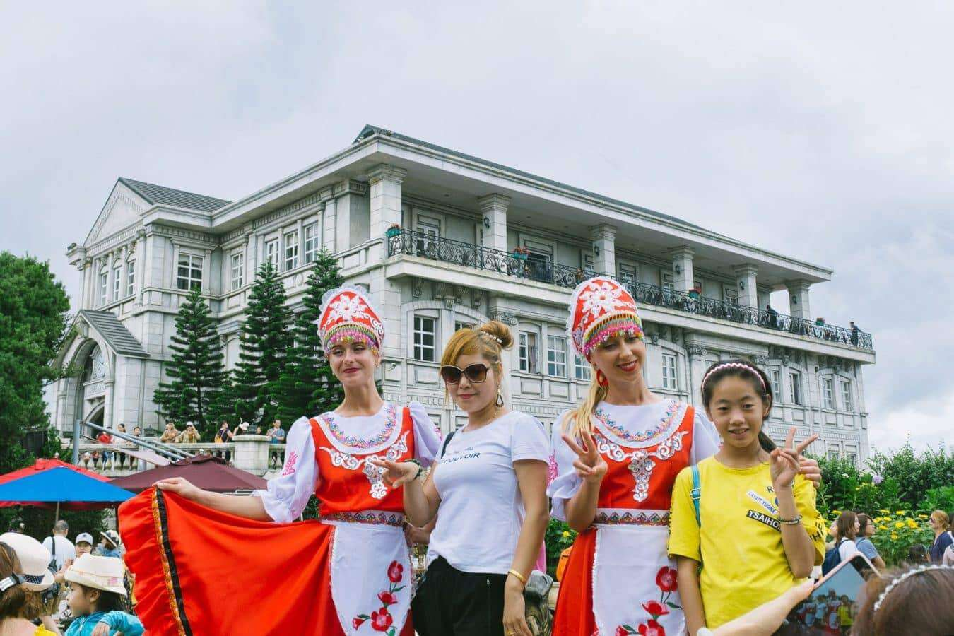 Colourfully dressed Ba Na Hills actors