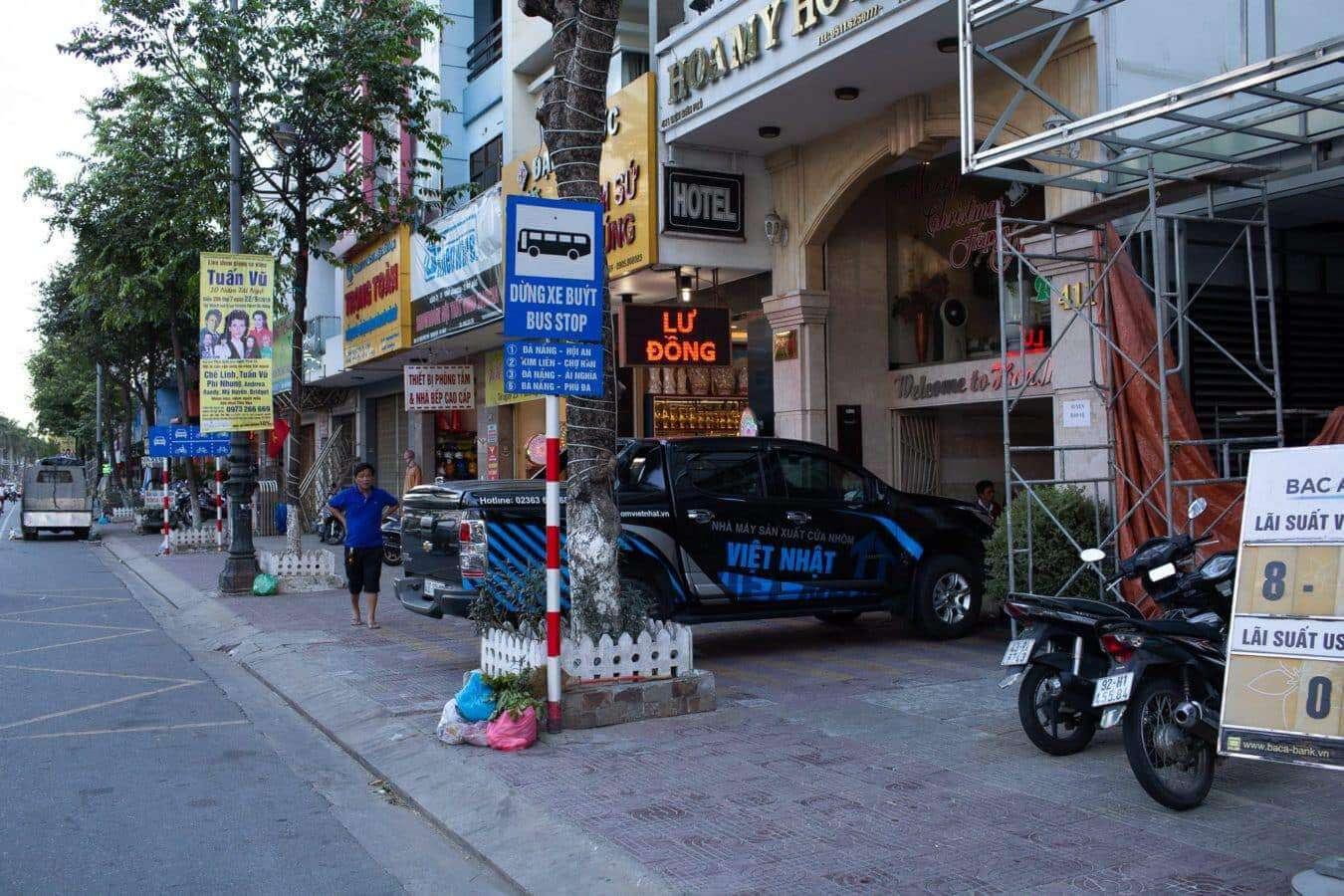 Bus stop for the No. 1 bus - Da Nang to Hoi An