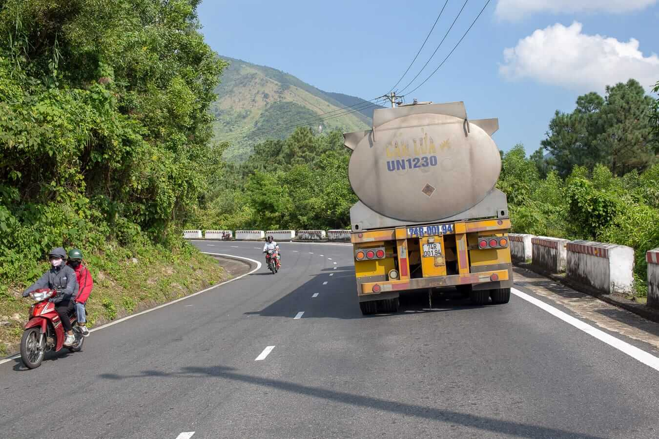 Fuel tanker driving on mountain roads