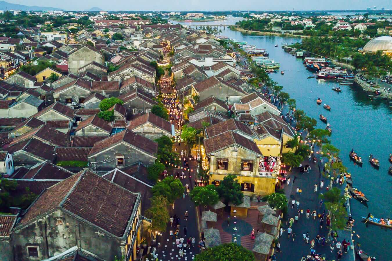 Aerial view of Hoi An Old Town: Hoi An airport