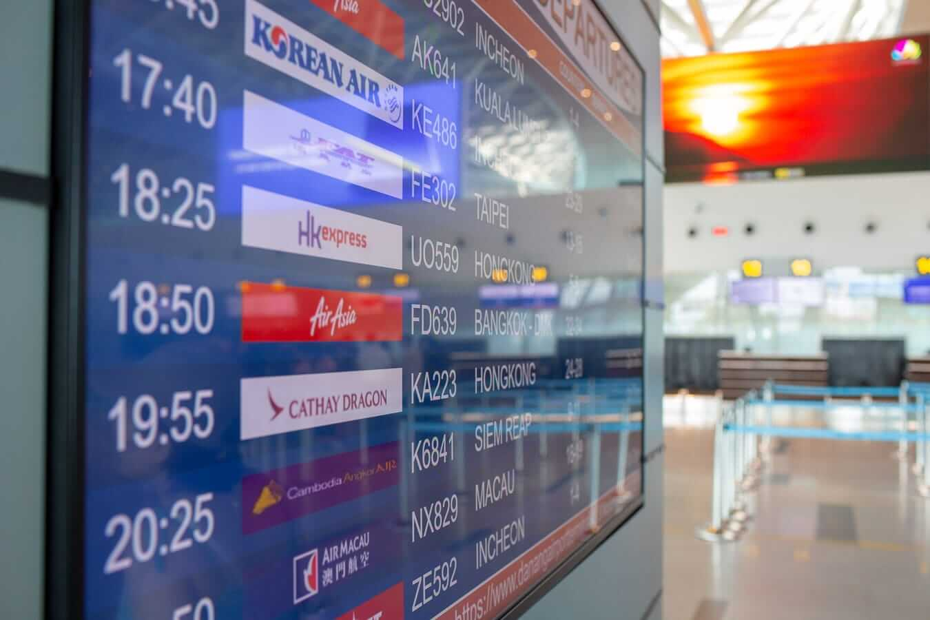 Departure boards at the Da Nang airport