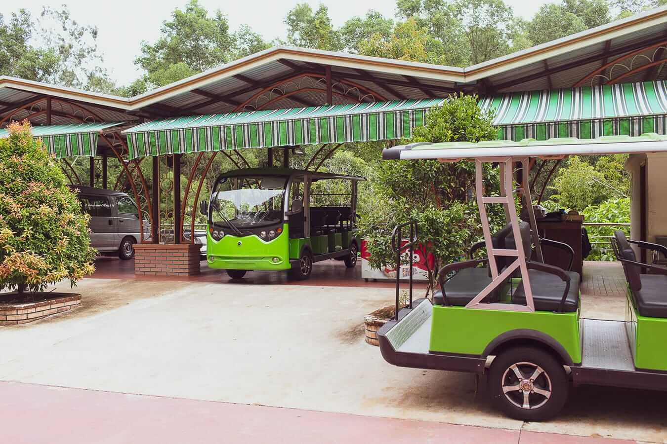 Electric buses at the sanctuary