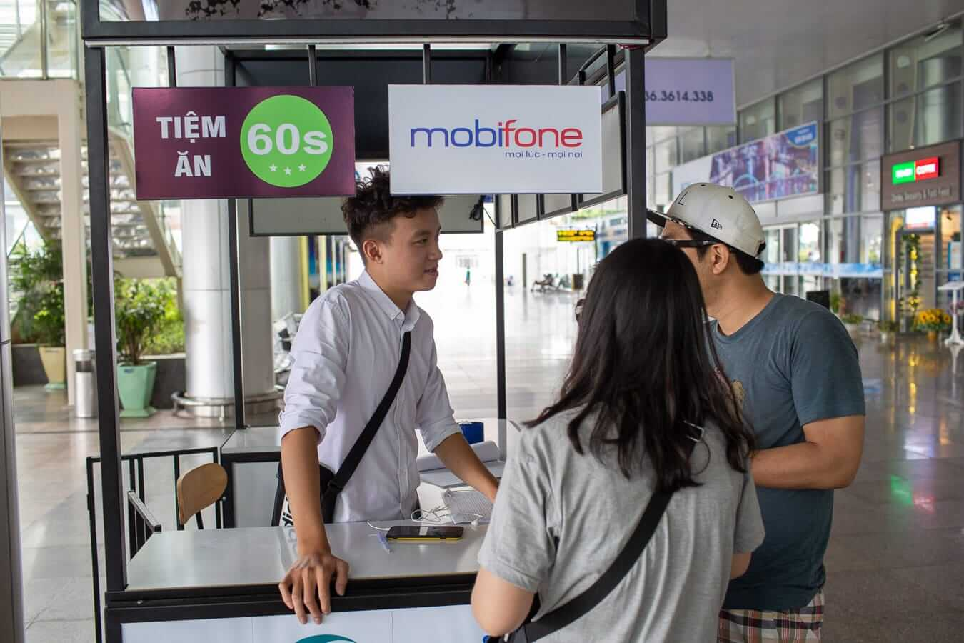 Sim card stall at Da Nang airport
