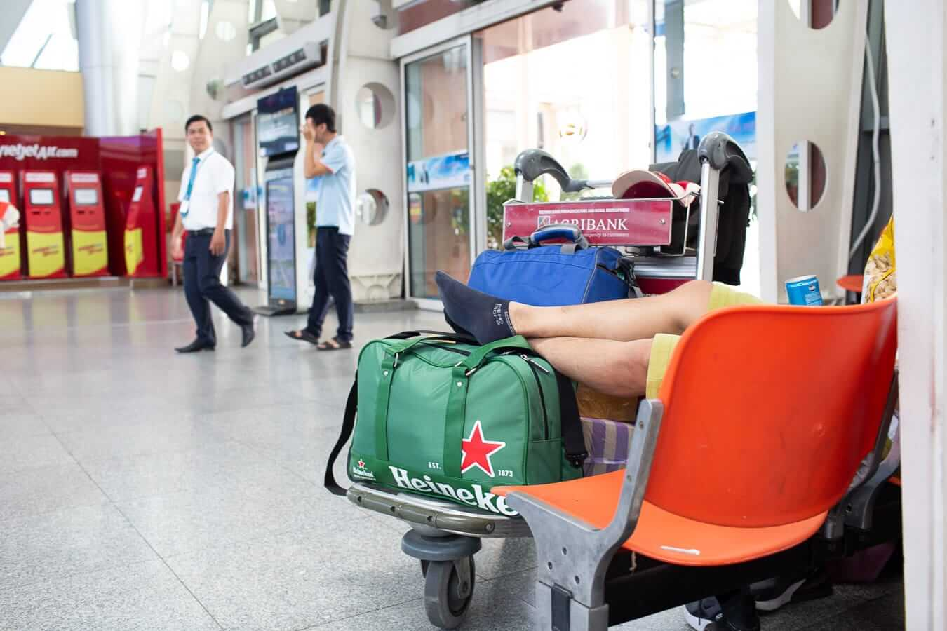 Travellers wait for their flights at Da Nang airport