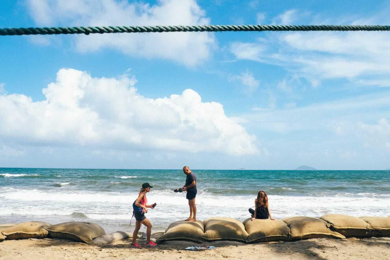Visitors at Cua Dai beach