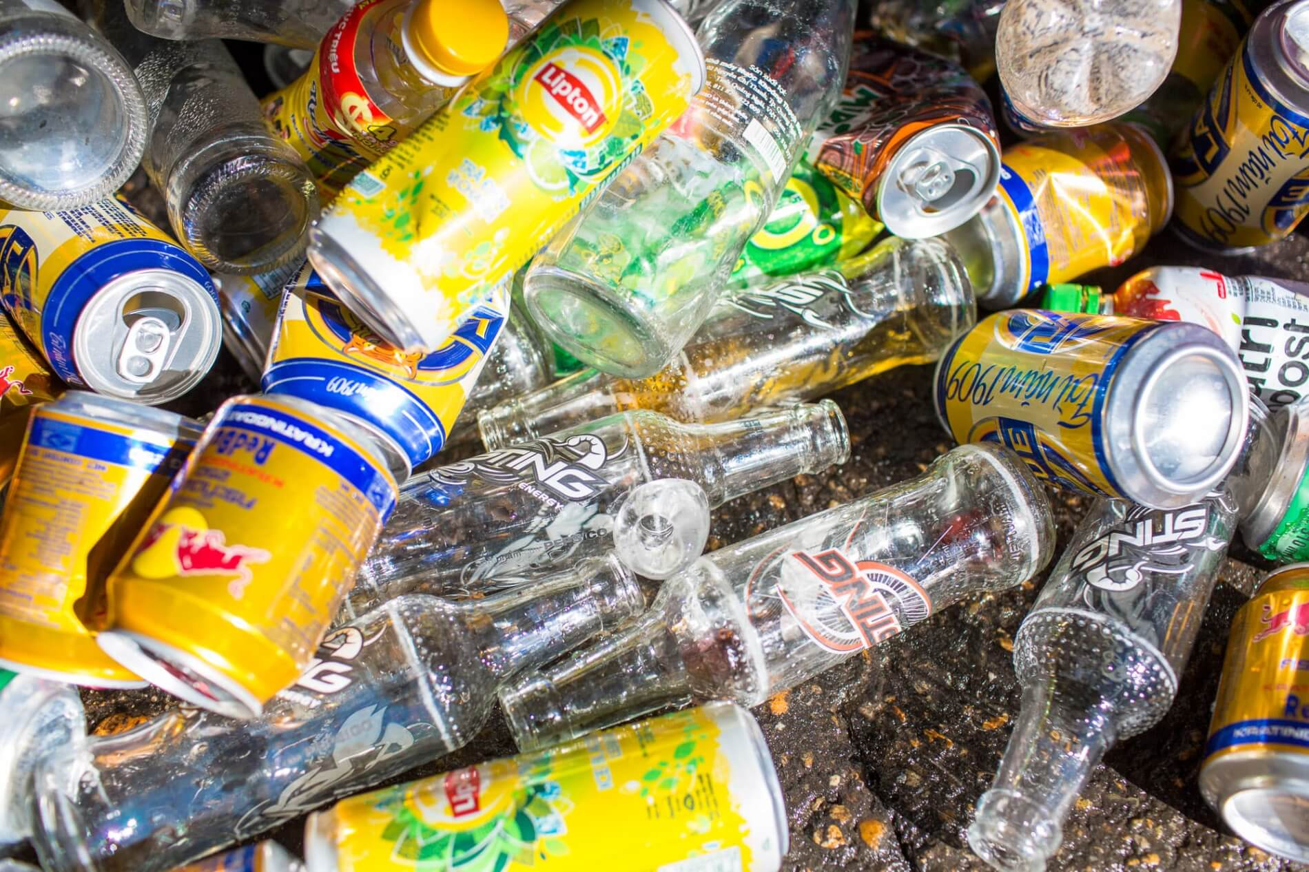 Cans and bottles for recycling