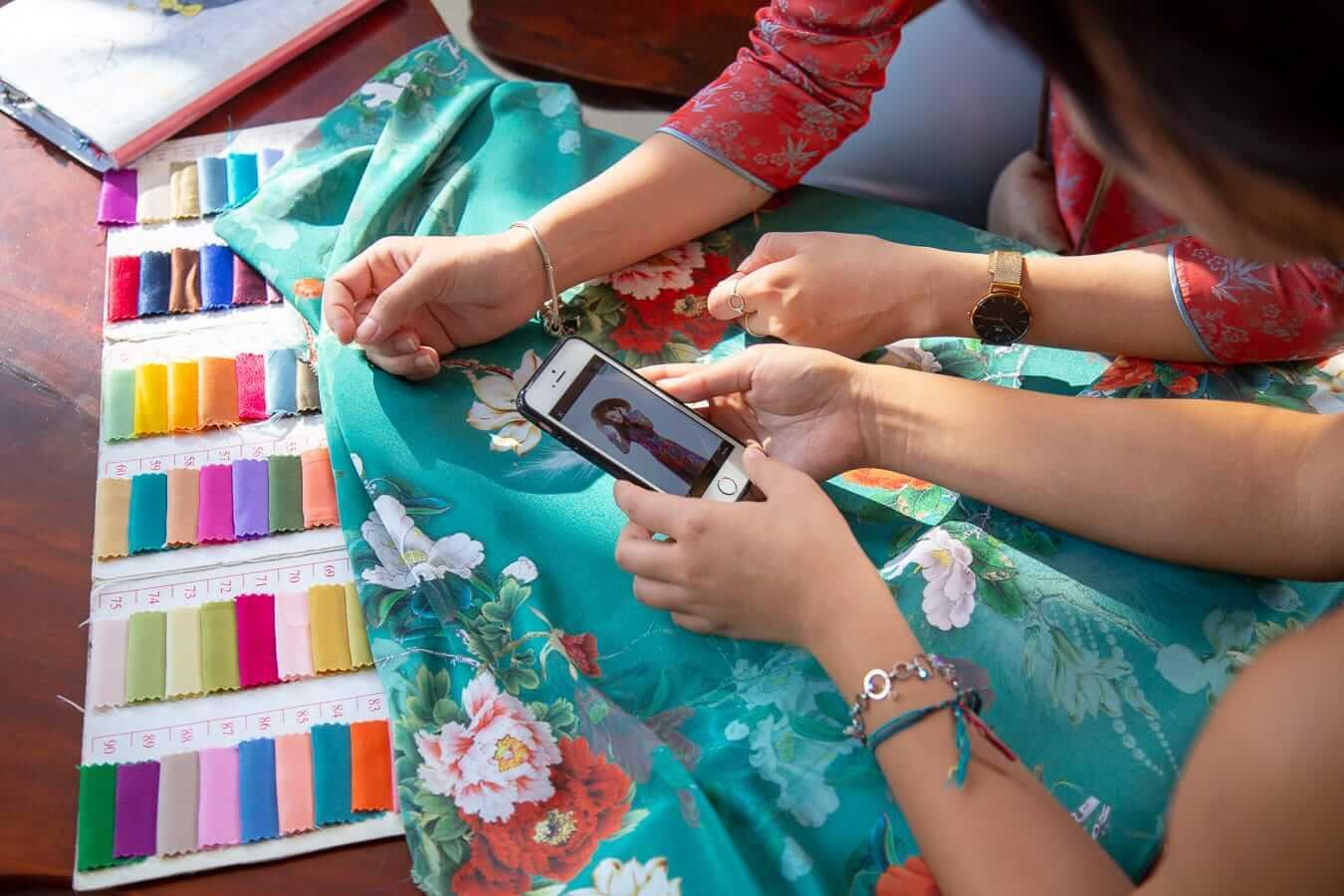 Selecting fabric for an Ao Dai at Bebe