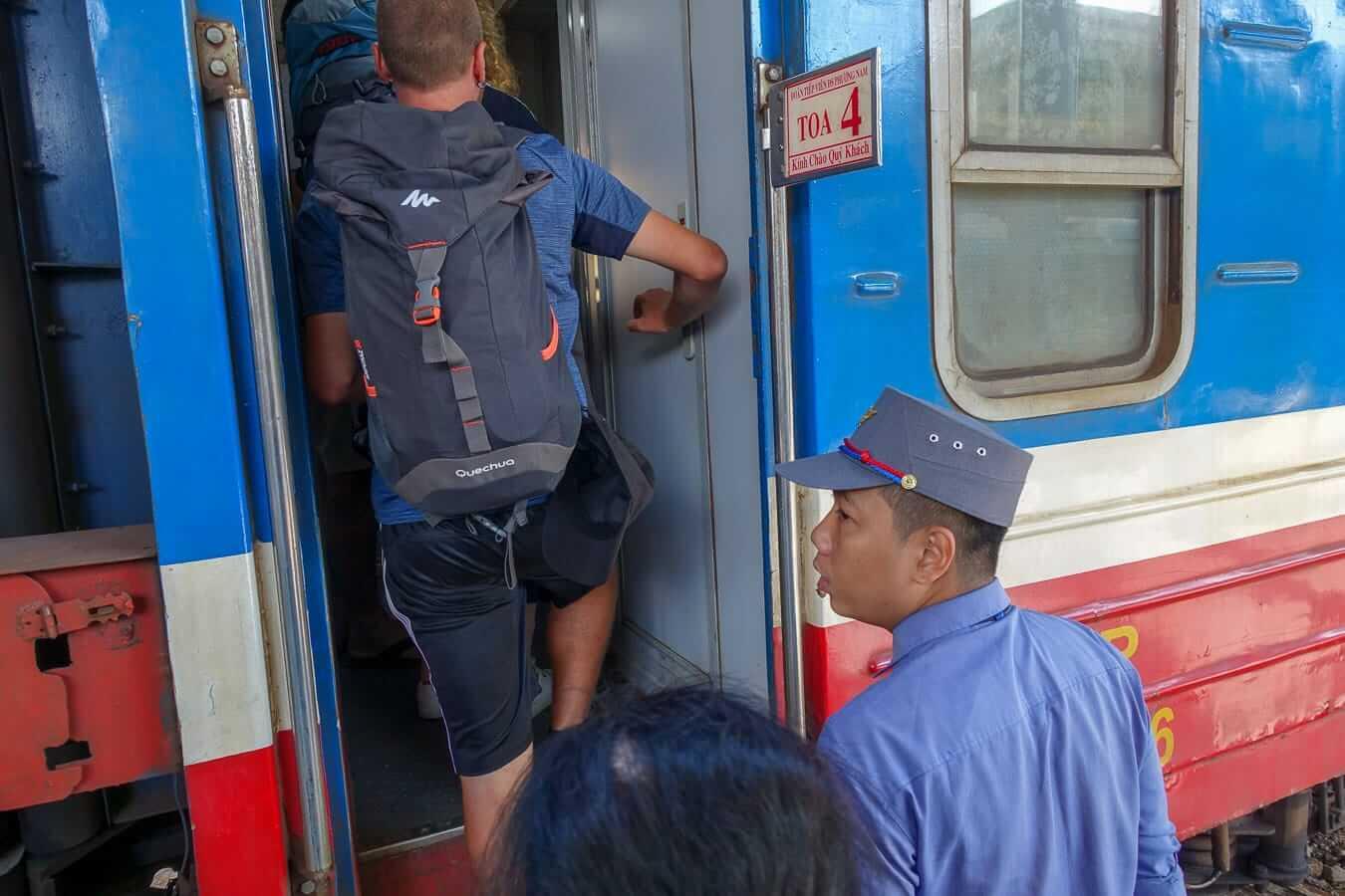 Backpackers boarding the train: Hue to Da Nang