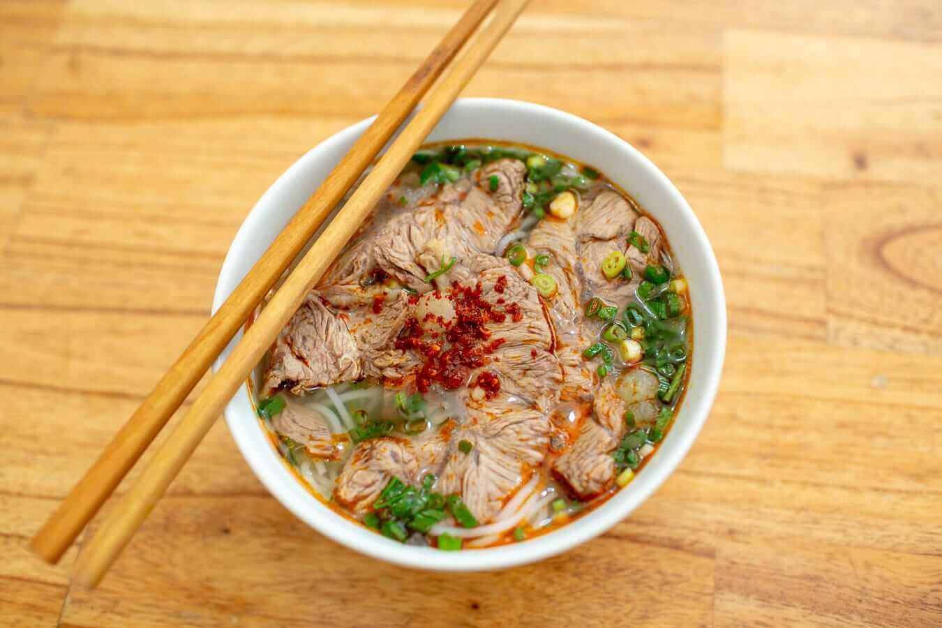 A bowl of Bun Bo Hue