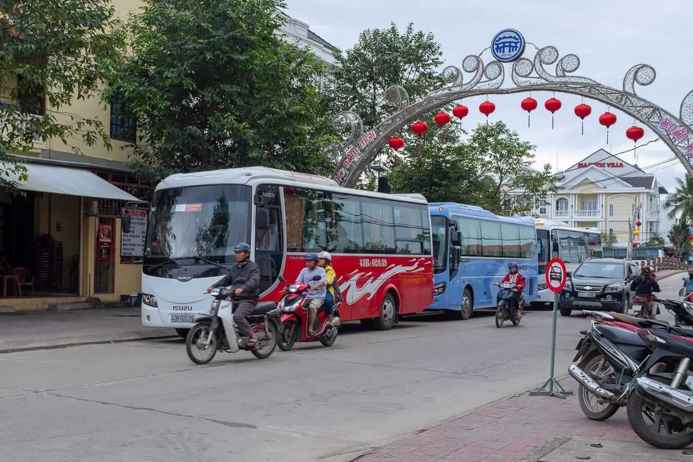 Buses outside The Royal Hoi An: Hoi An bus station