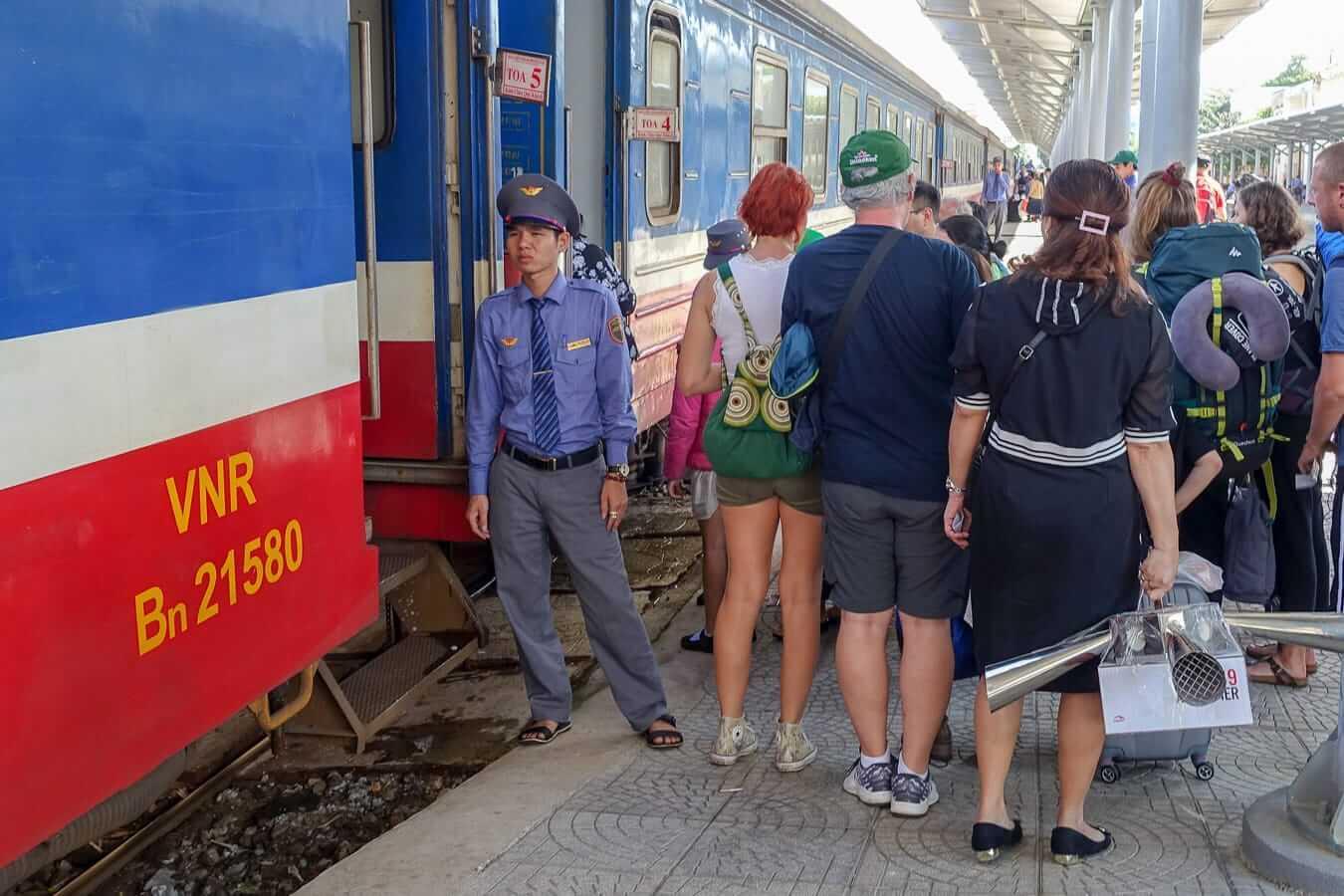 Boarding the train at Da Nang Station