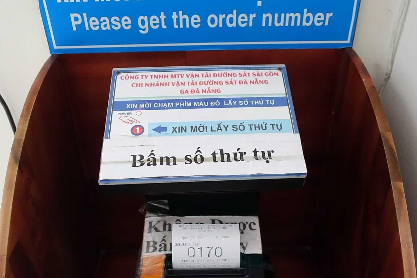 Da Nang train station ticket machine