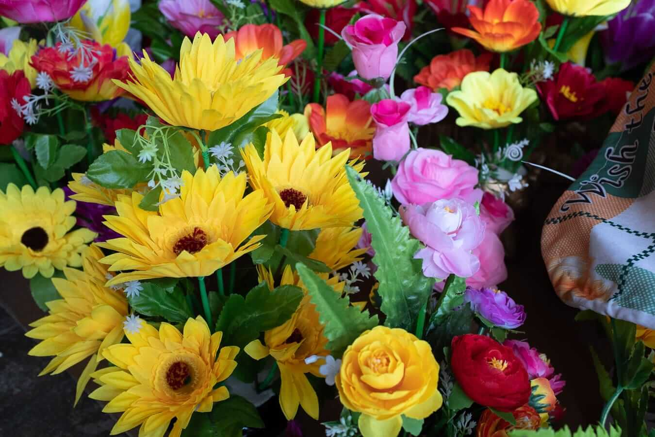 Brightly coloured flowers for Tet