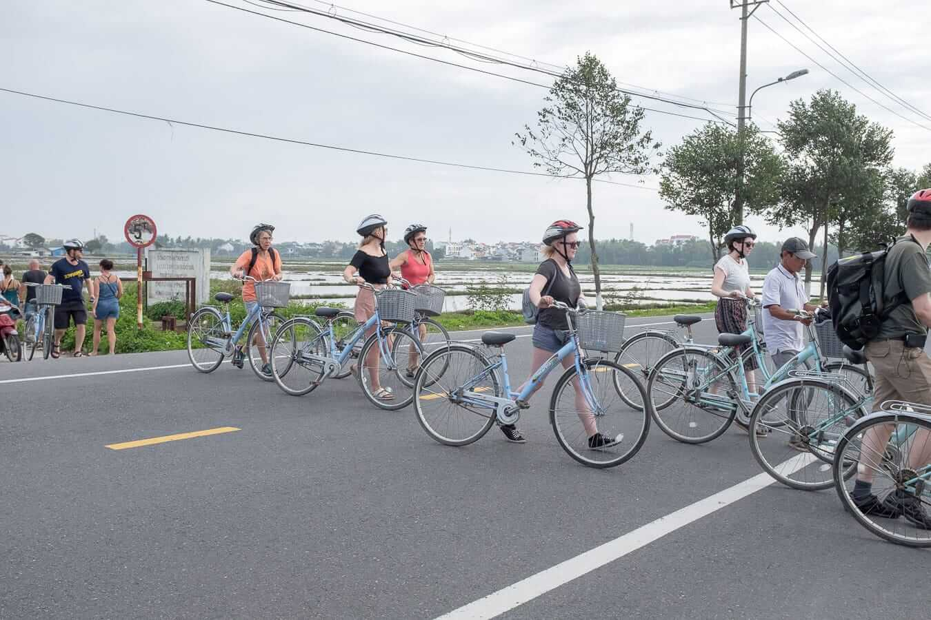 Group of cyclists: Hoi An cycling