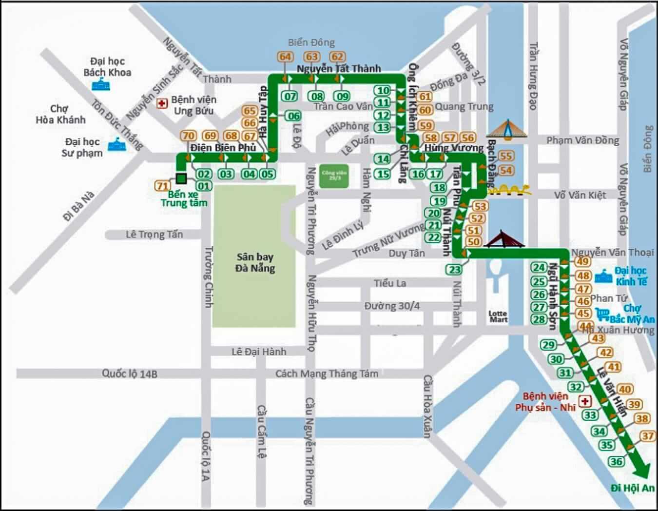 Hoi An to Da Nang bus route map: Hoi An bus station