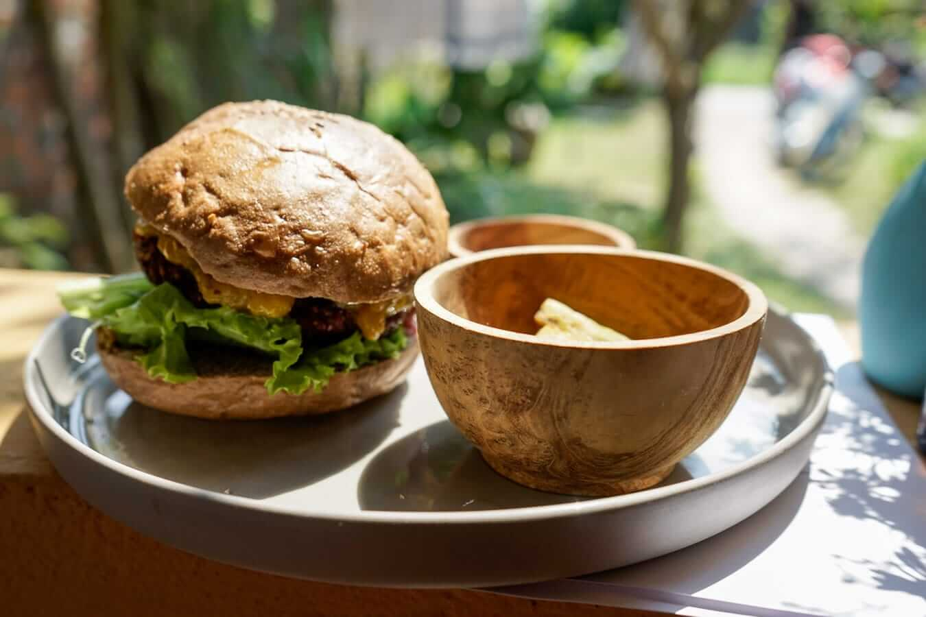 The vegetarian burger at Nourish Hoi An