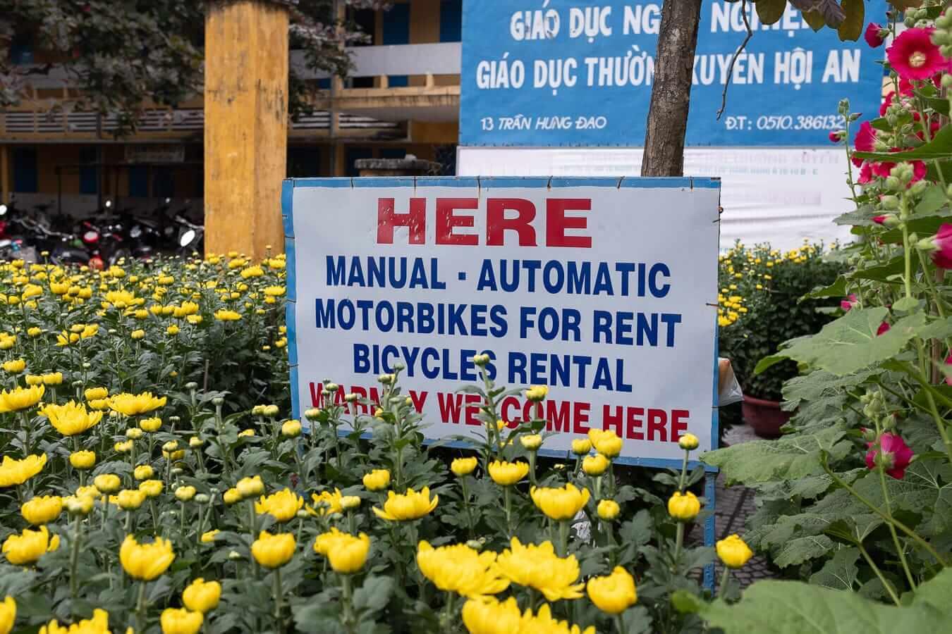 Sign for Vietnam motobike rental