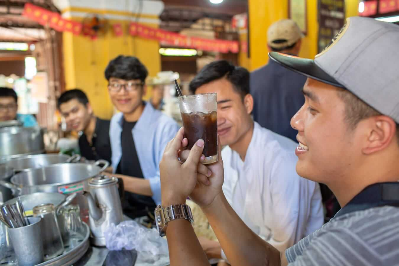Vietnamese coffee in Hoi An Central Food Market