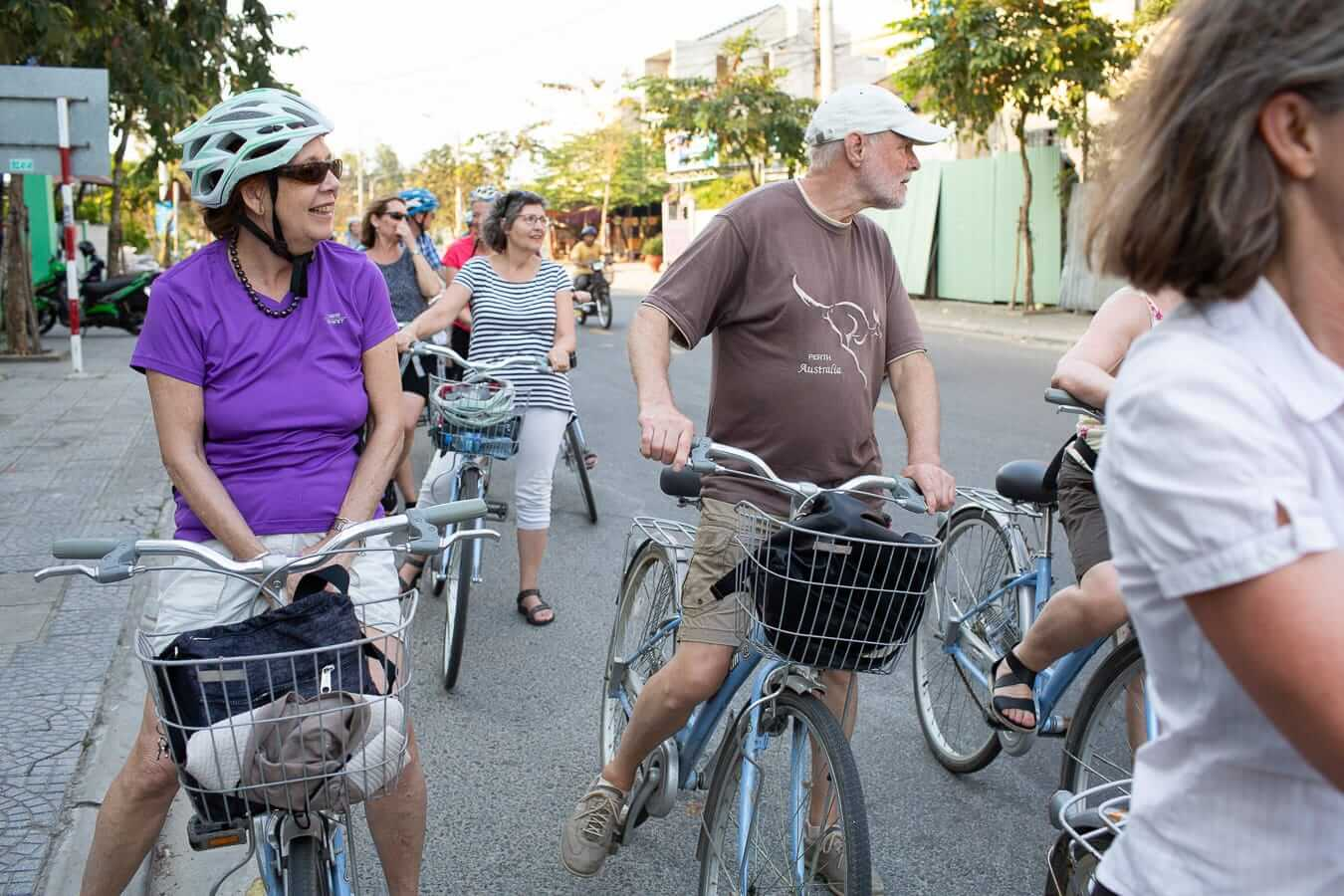 A cycle group stops for a break during Hoi An Cycling Tours