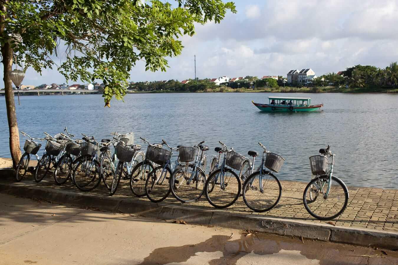 Bicycles along Hoi An's riverside: Hoi An Cycling Tours