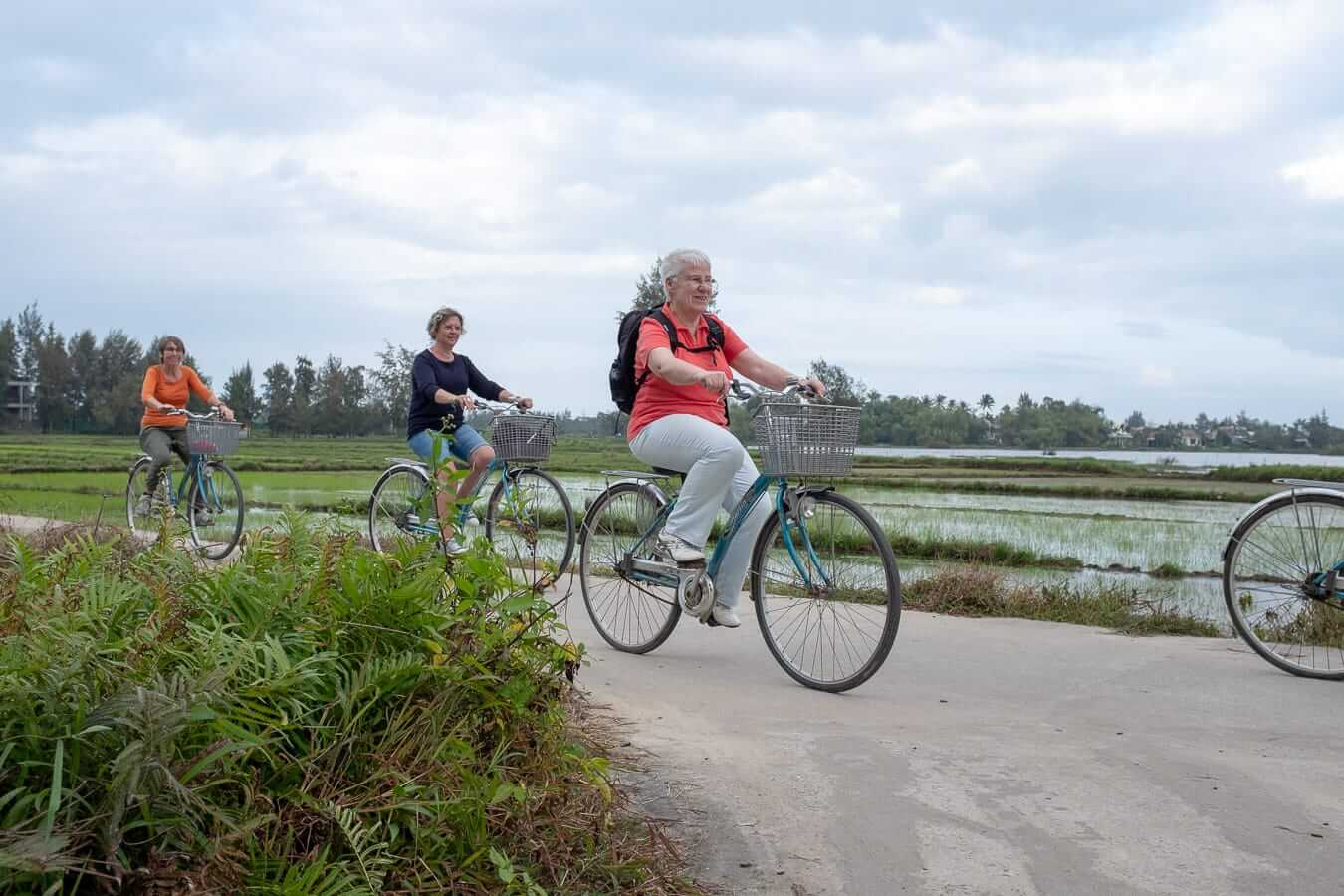 Cyclists by rice fields: Hoi An Cycling Tours