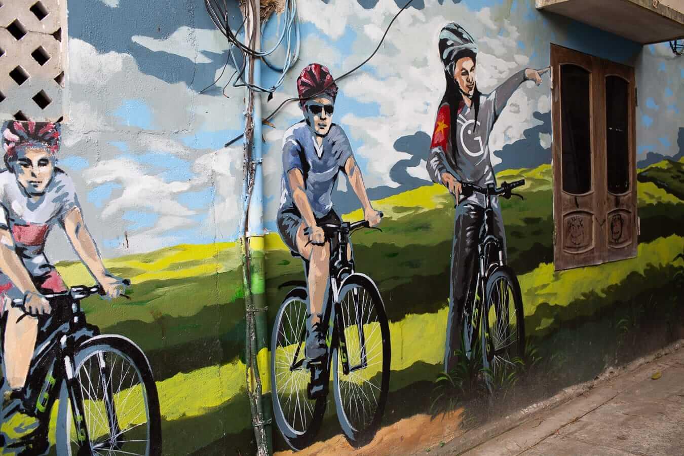 Grasshopper Adventures' office mural: Hoi An Cycling Tours