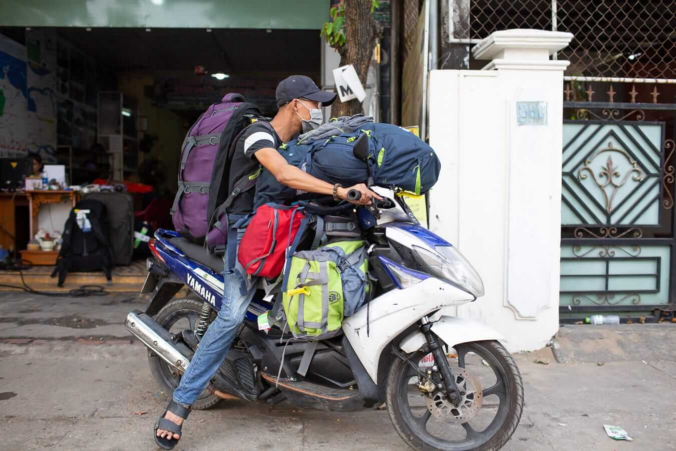Motorbikes loaded with backpacks: Motorbike Rental Shops in Hoi An