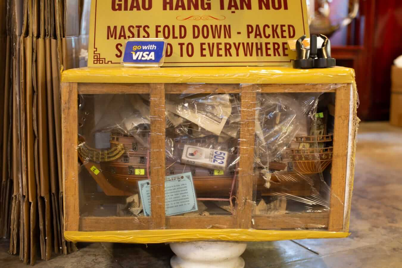 Packaged souvenirs for shipping from Hoi An
