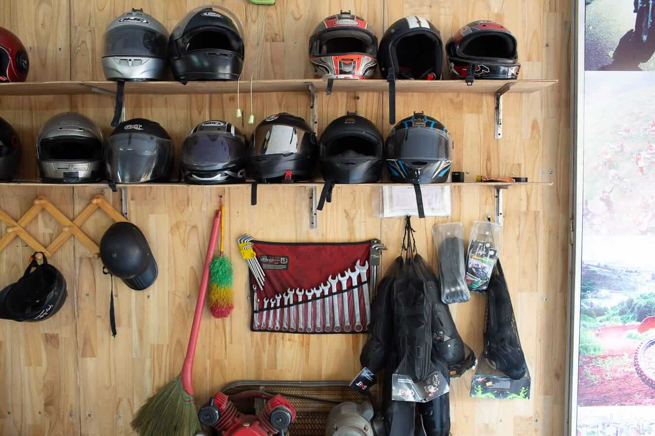 Tools and helmets at Flamingo: Motorbike Rental Shops in Hoi An