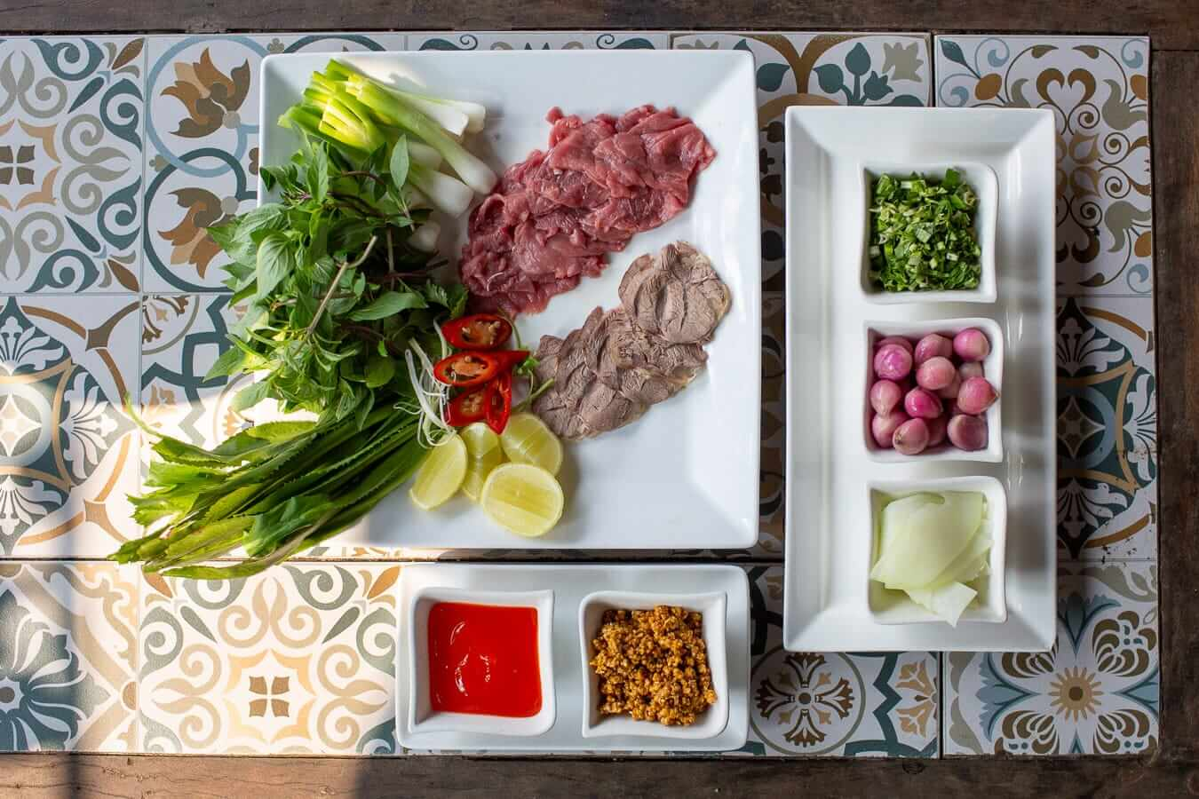 Vy's Marketplace flat lay:Best Pho in Hoi An