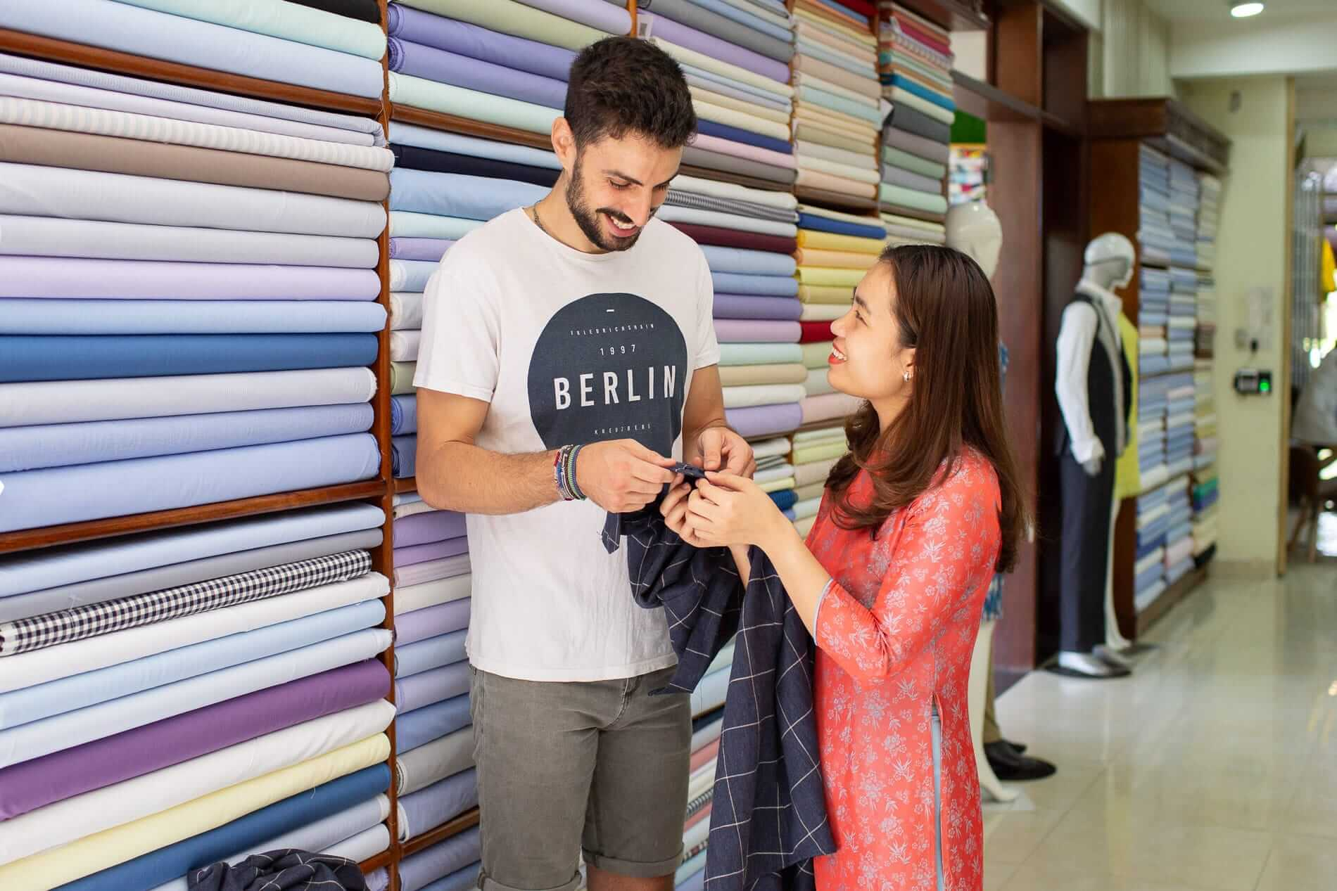 customer selects fabric