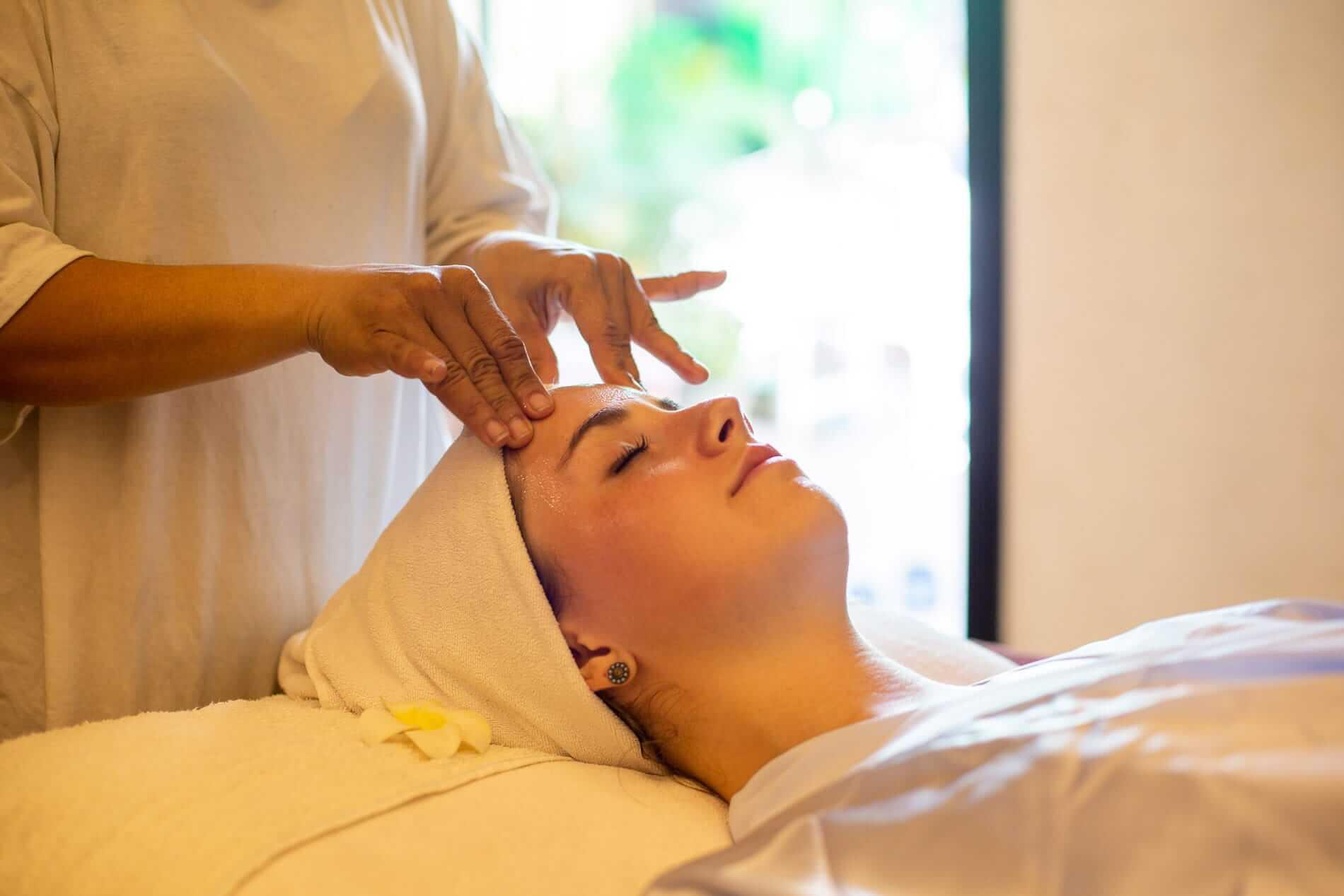 Face treatment at Five Senses Spa