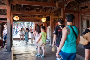 Tourists at the Japanese Covered Bridge - - Hoi An Temples and Pagodas