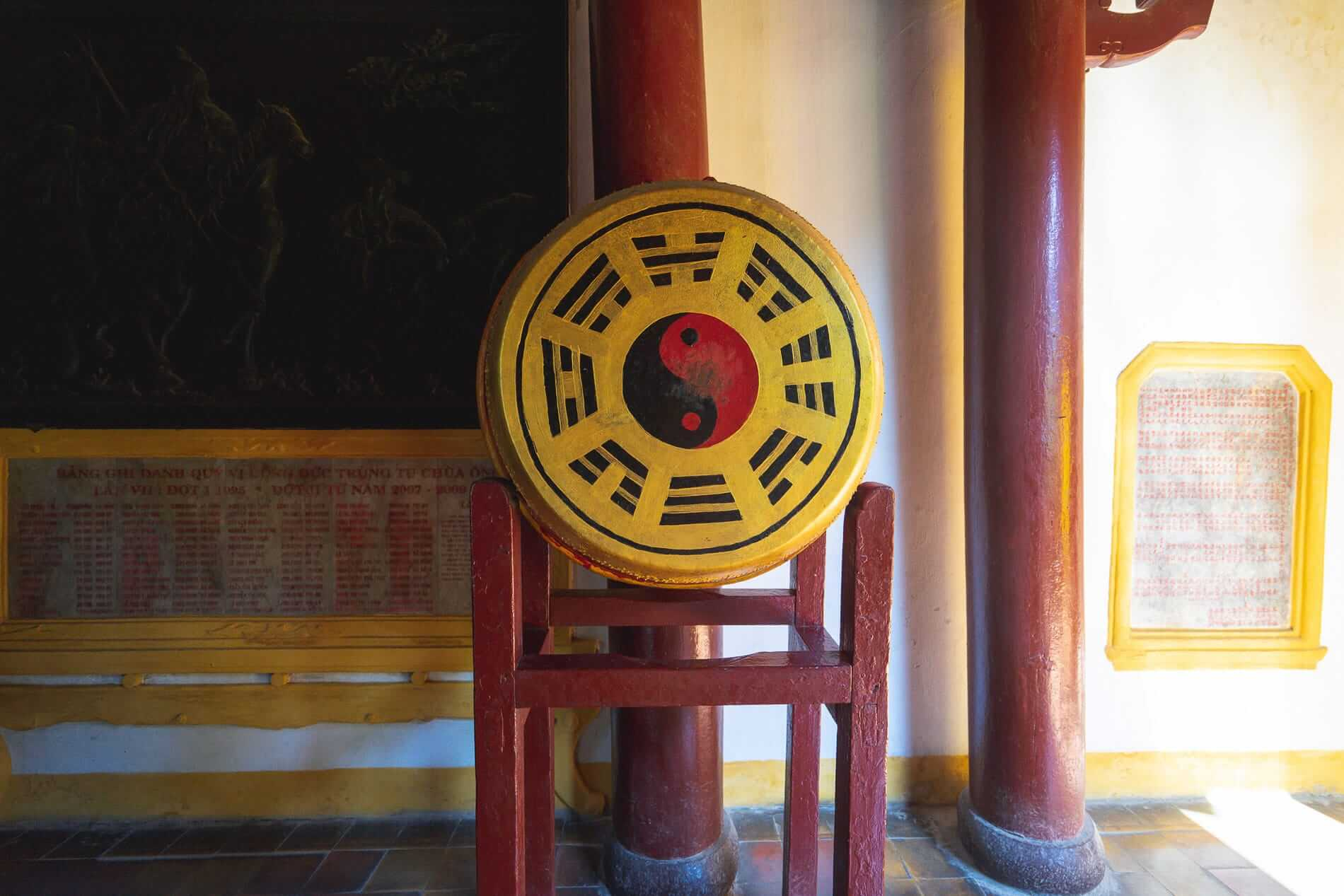 Drum decorated with Daoist symbols - Hoi An Temples and Pagodas