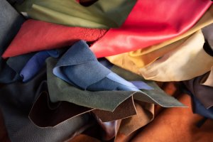 Multicoloured samples of leather
