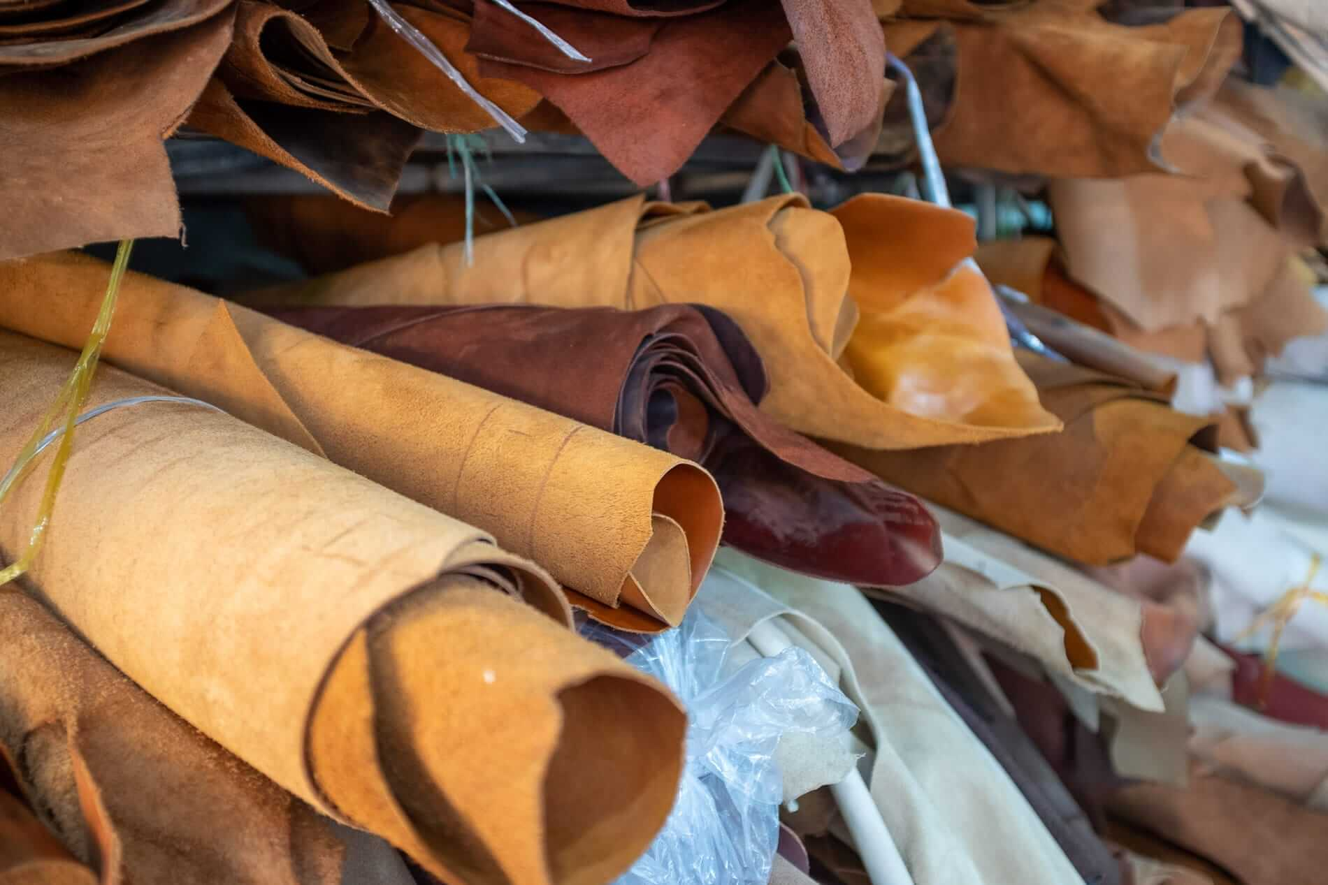 Shelves of raw leather