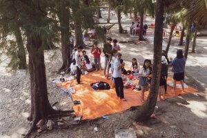 Vietnamese picnic under the trees