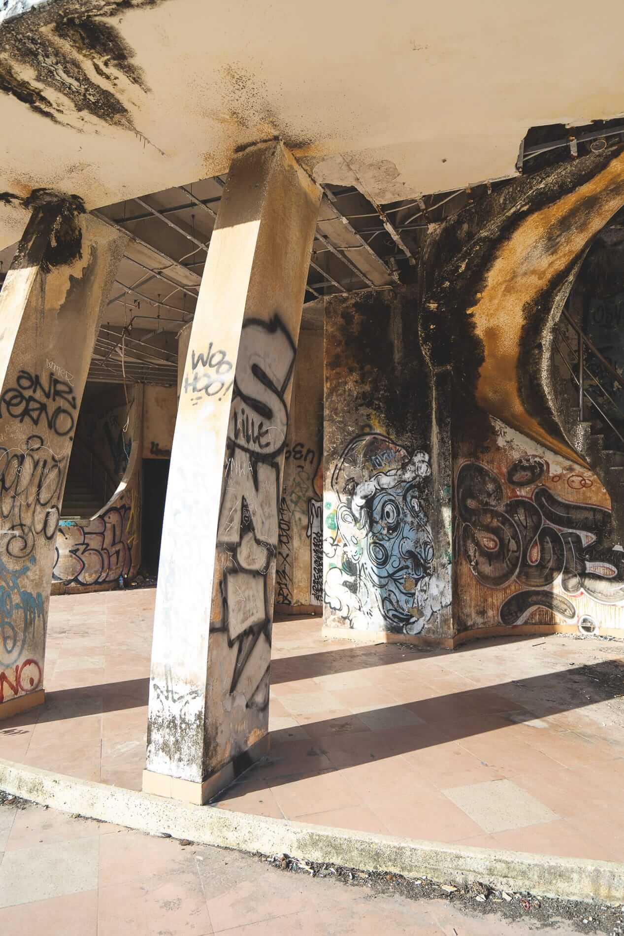 Amphitheater with graffiti - Hues Abandoned Water Park
