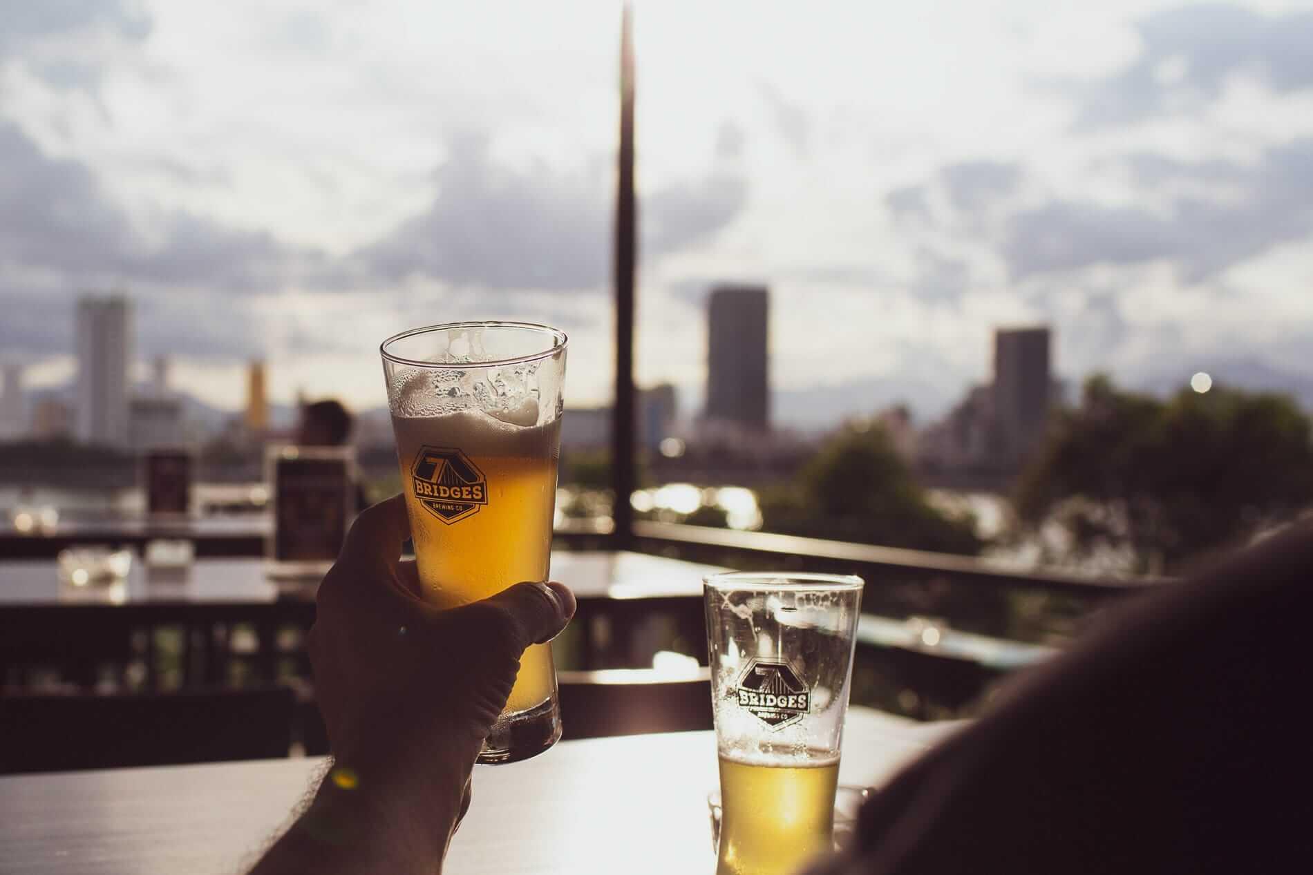 Drinking beer overlooking Da Nang