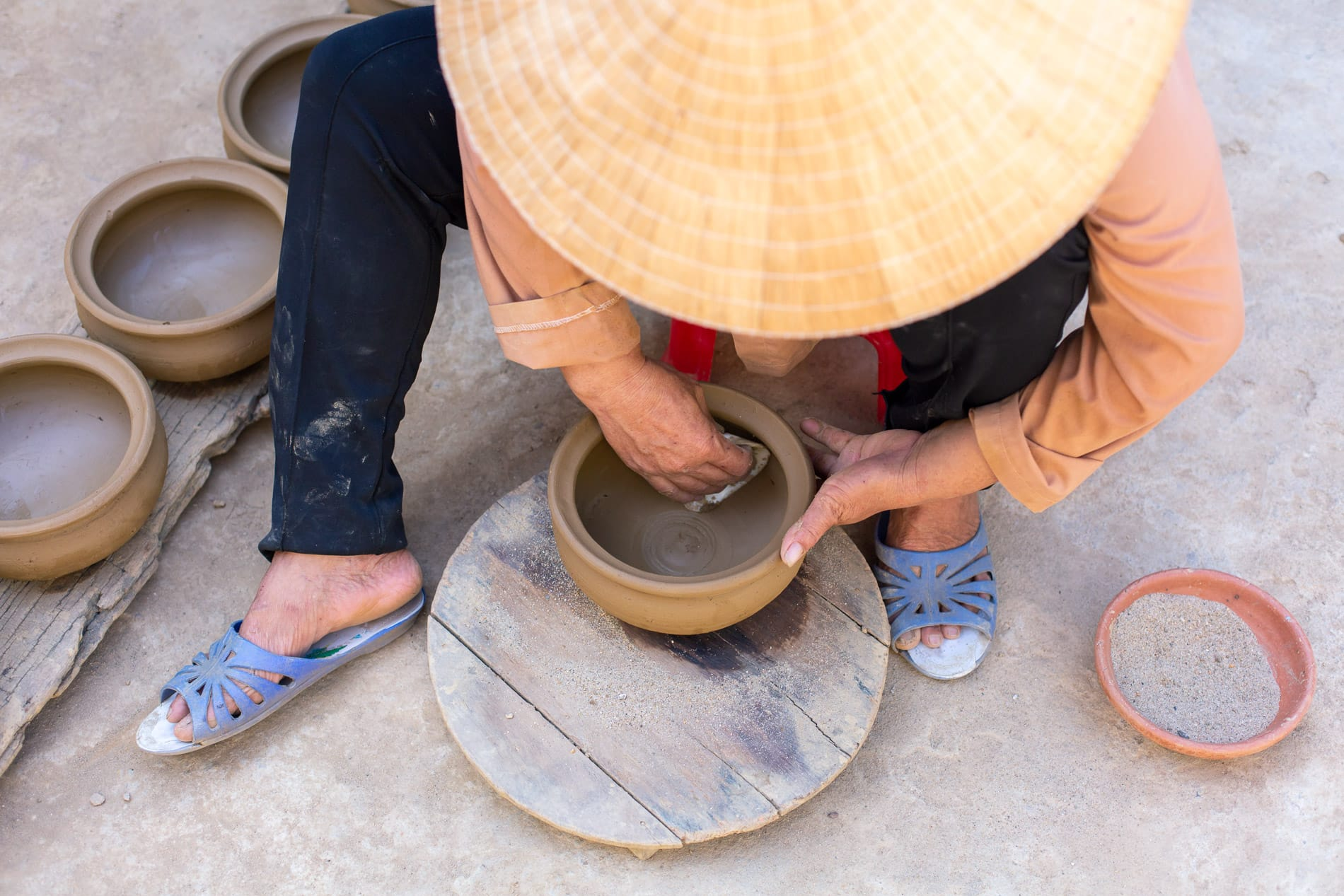 A clay bowl finished by hand - Pottery Village