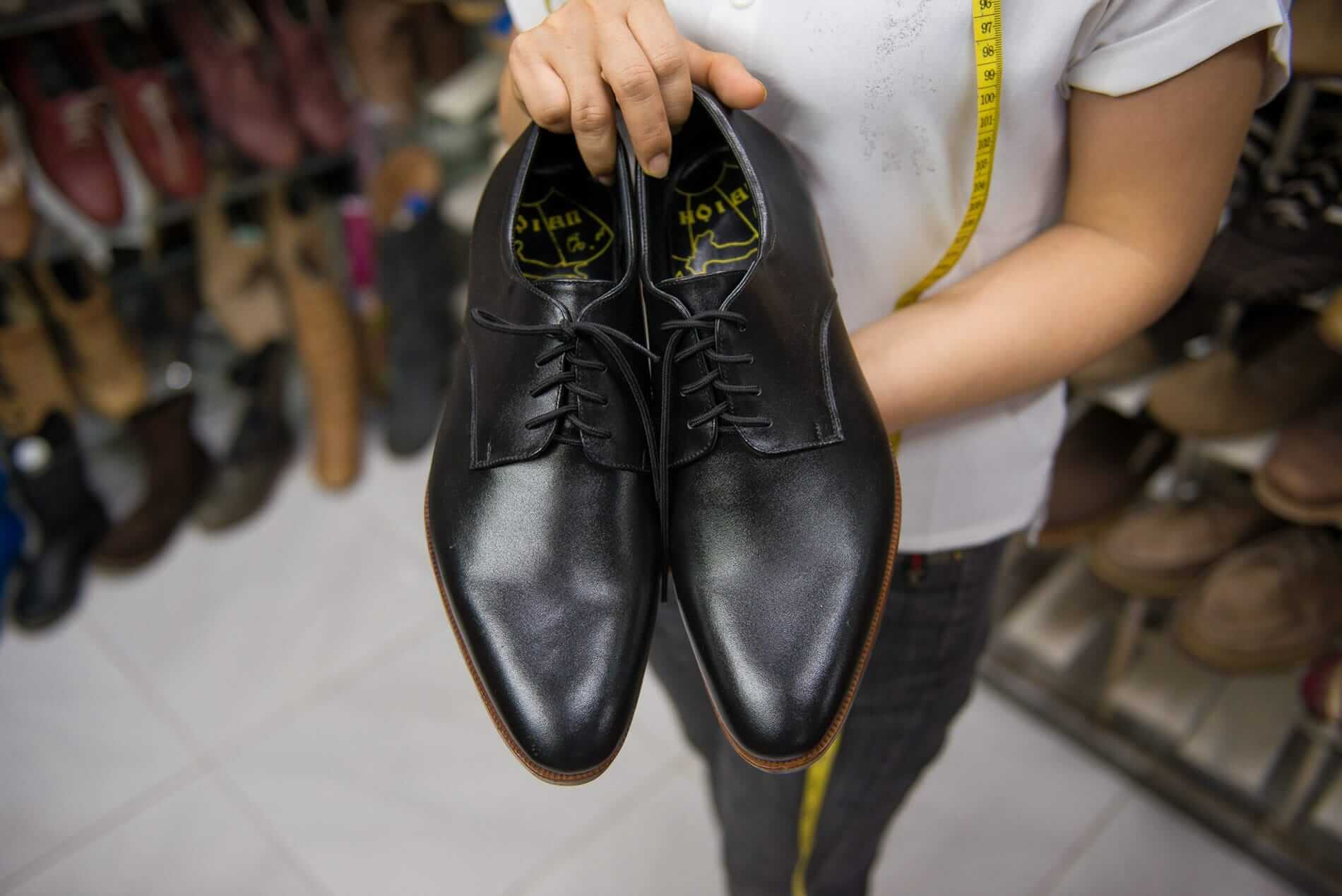 A pair of custom leather shoes