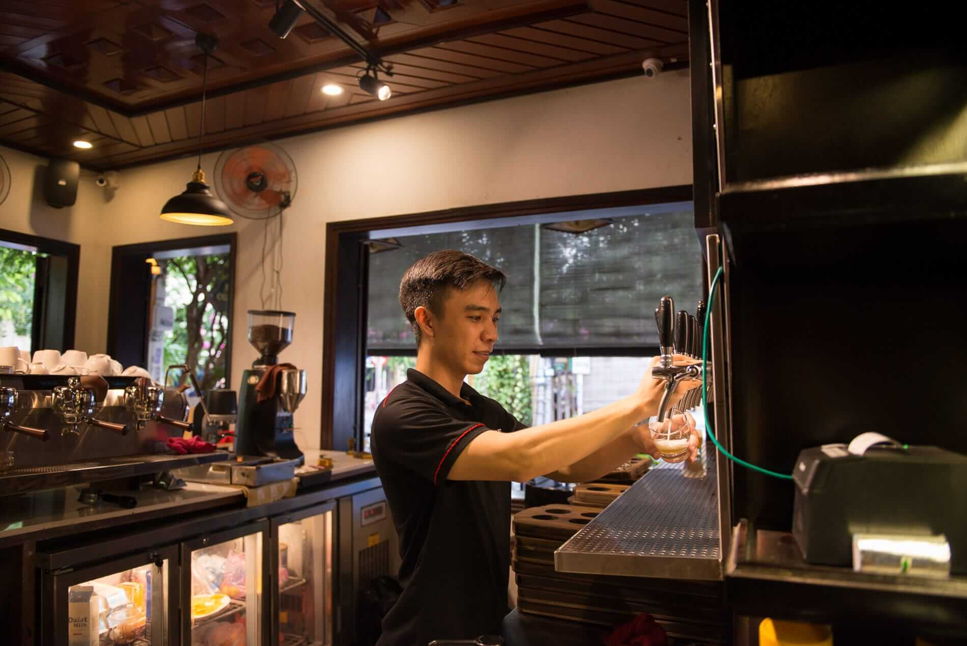 Craft beer taps at Mia Coffee
