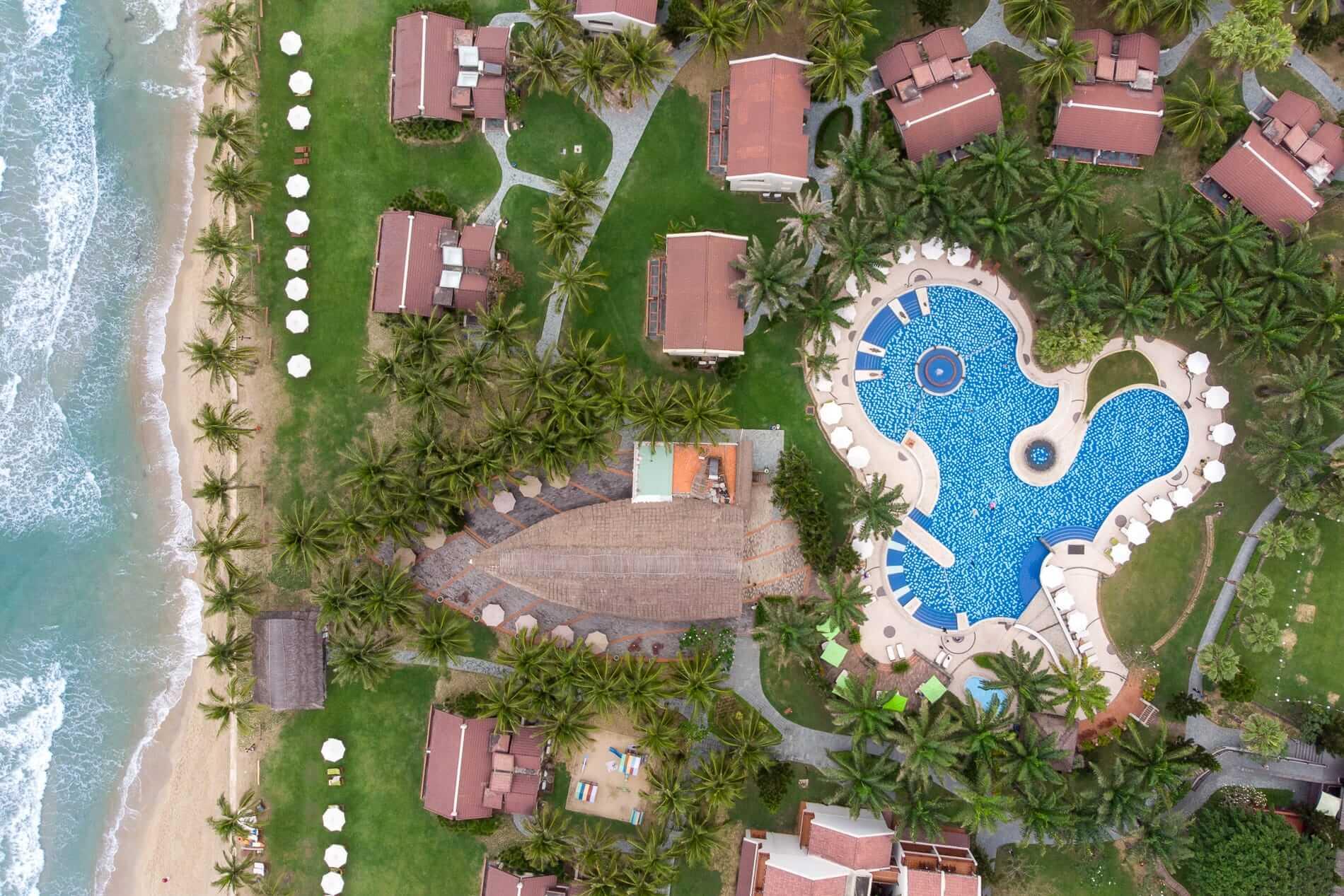 Drone view of The Palm Garden Resort - Hoi An Beach Resorts