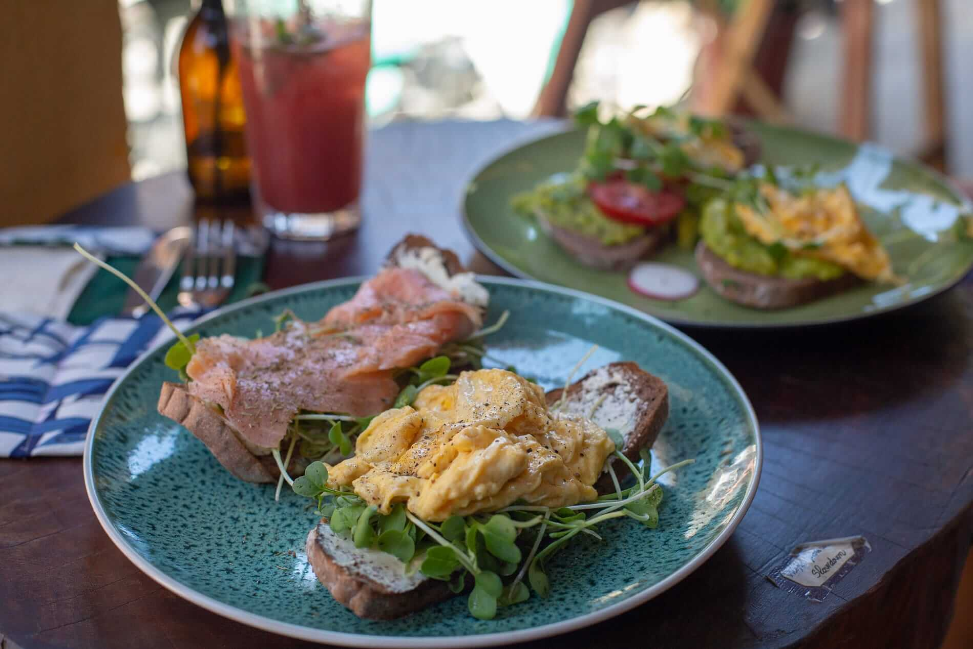 A plate of smoked salmon and scrambled egg