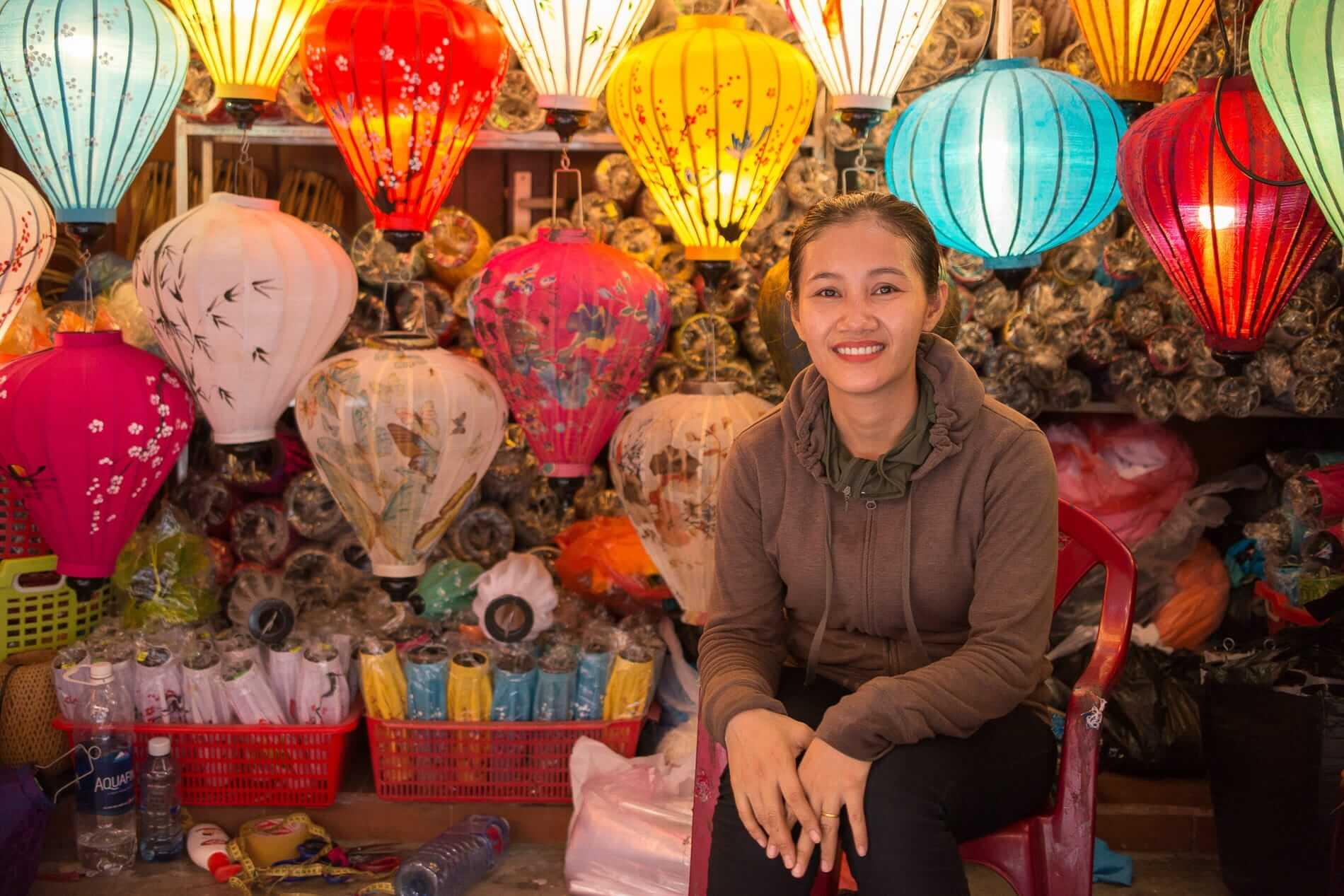 Mrs Van at her lantern stall