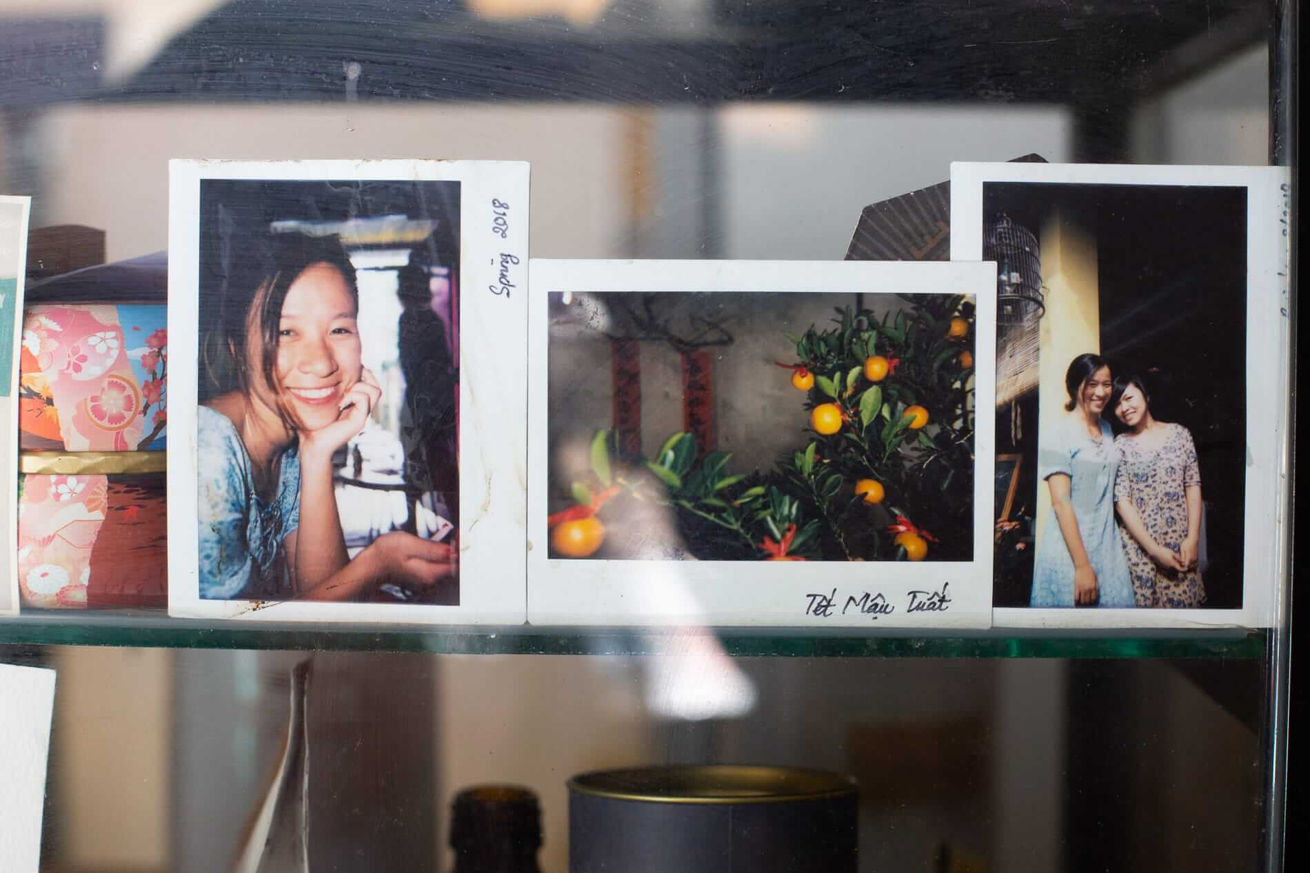 Instant photos in a cafe