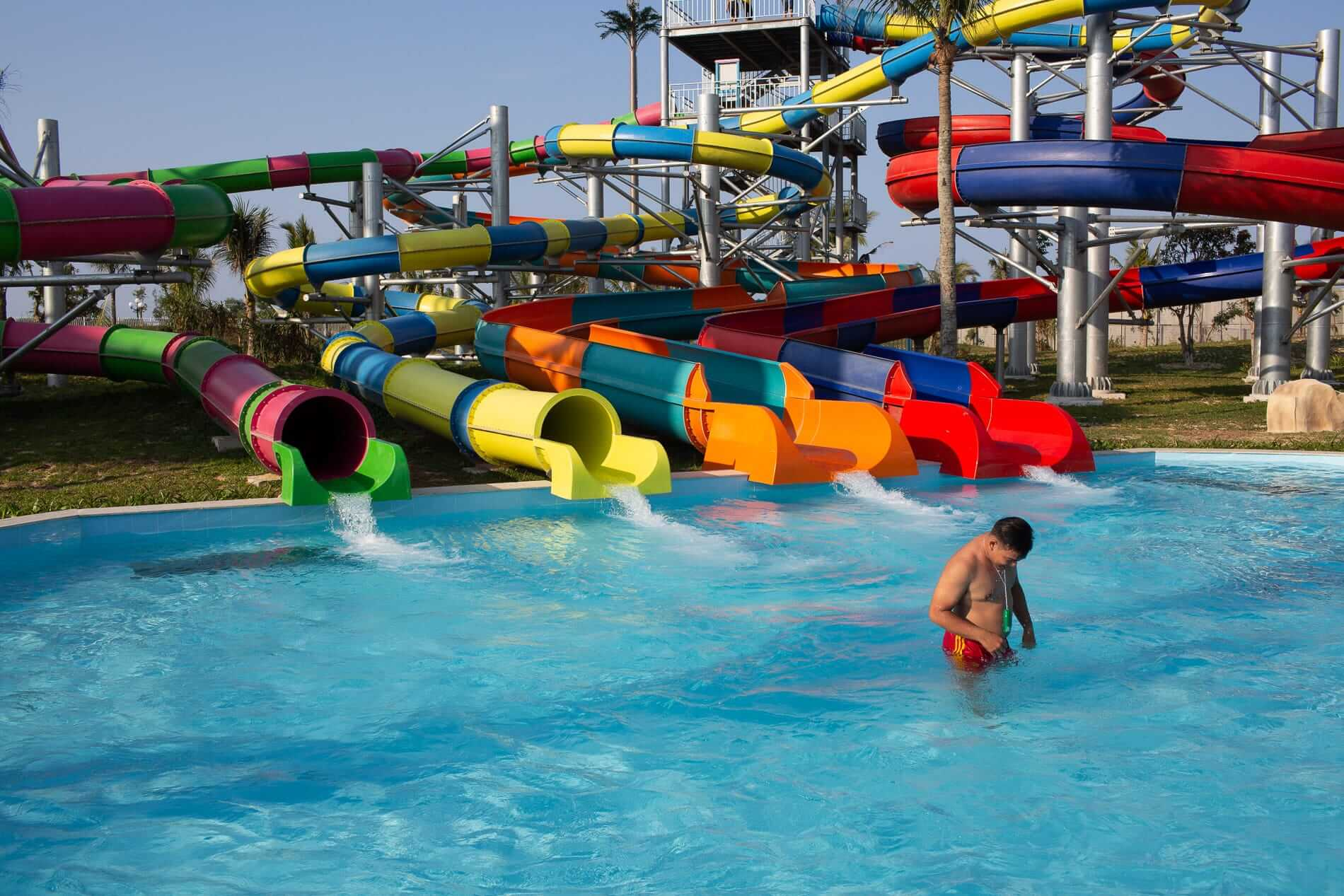 Slides at the VinPearl Land waterpark