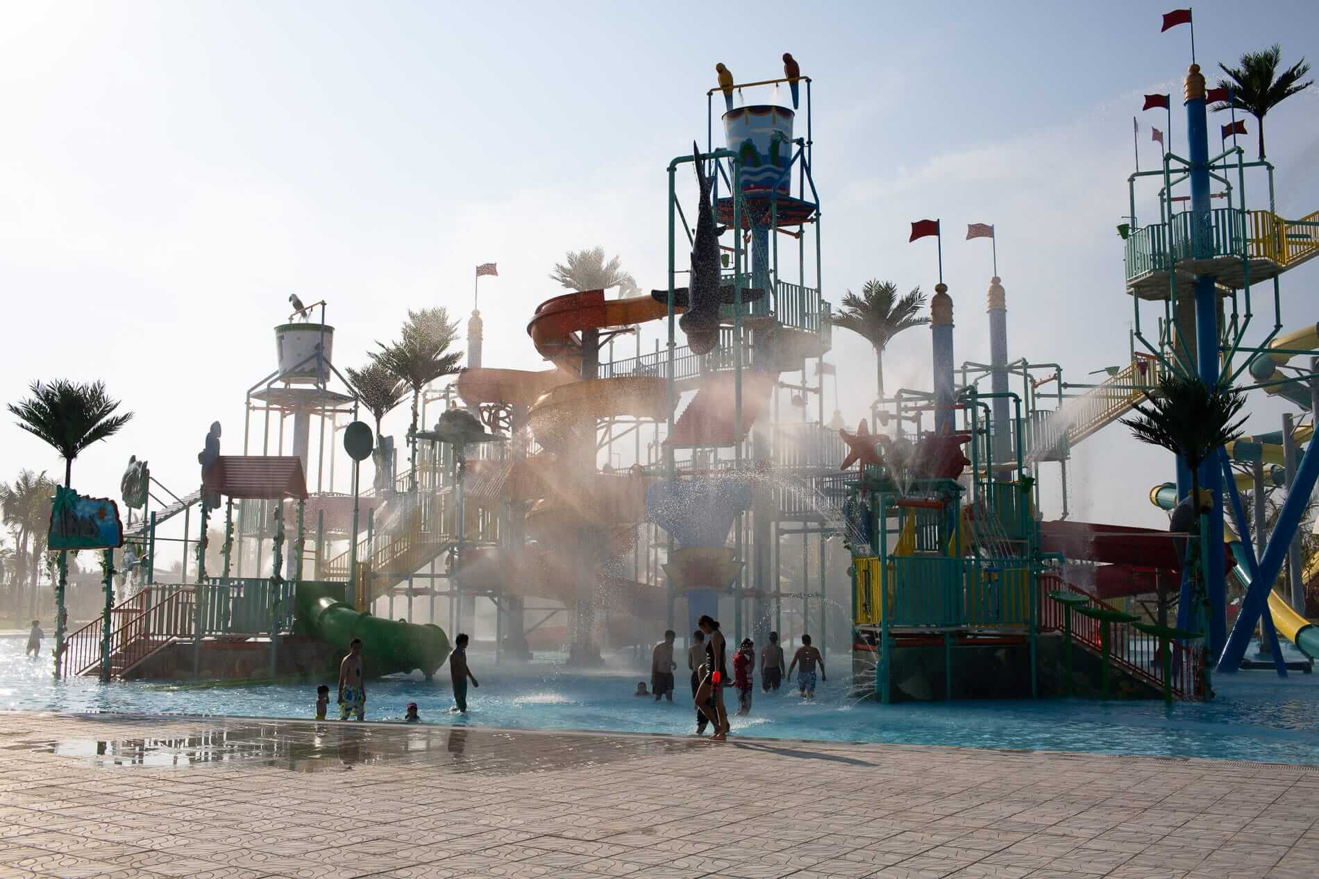The waterpark slides and play area.